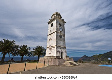 Old Bell tower, or Campanile, in Canari village, the plase is named Cloche a pieve. Cap Corse Peninsula, Haute-Corse, France