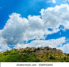 Old Belmonte Calabro town on mountain hill top, province of Cosenza, Calabria, Italy. Two shots stitch image.
