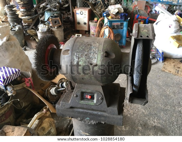 Miraculous Old Bench Grinder On Stand Workshop Stock Photo Edit Now Ibusinesslaw Wood Chair Design Ideas Ibusinesslaworg