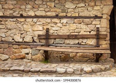 Old bench in the historic town of Koprivshtitsa, Bulgaria.