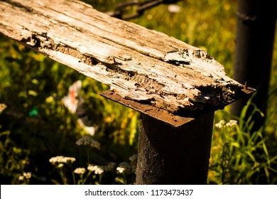 old bench wooden rotten cloth