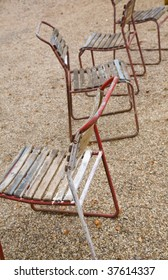 old bent metal and wood chairs,