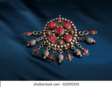 old Berber jewelery in coral and silver Algeria