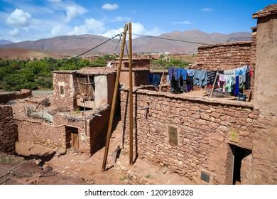 Old berber Village in high Atlas mountains in Morocco, near Ouarzazate