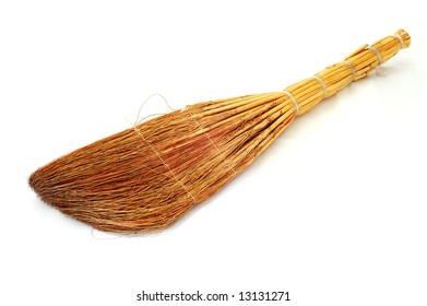 Old besom on the white background.
