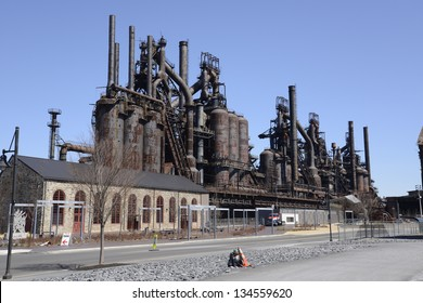 The old Bethlehem Steel factory in Bethlehem, Pennsylvania.   At one time it was the second largest steel manufacturing facility,