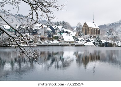 Old Beyenburg in the snow, Wuppertal, Germany