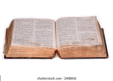 Old bible, over 100 years old, taken on clean white background.
