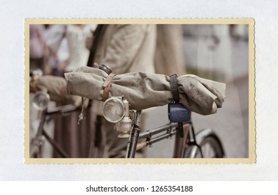 old bicycle with carbide lamp