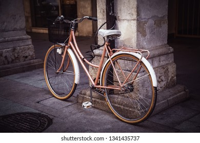 Old bicycle in the city, ecological transport through the city