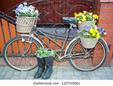 The old bicycle decorated with flowers as the house exterior in Szczebra village (Poland).