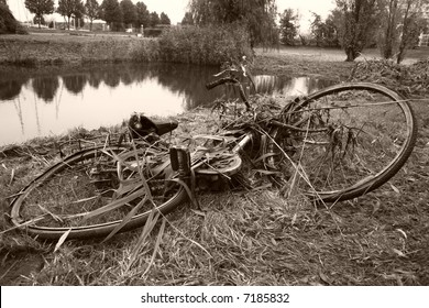 old bicycle fished out of a river
