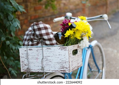 Old bicycle with flowers in metal basket, camera and checkered blanket on ground on old wall background