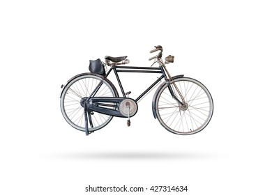Old bicycle isolated on white background