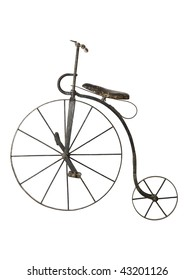 Old bicycle isolated on a white background