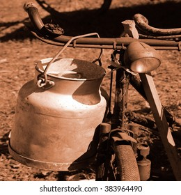 old bicycle of the last century used to transport the milk by milkman
