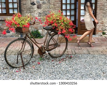old bicycle on the gravel as flowerpot decorating a country courtyard