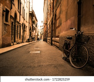 An old bicycle on a street of milano