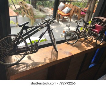 The  old bicycle  on table for show..
