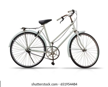 Old bicycle on white background
