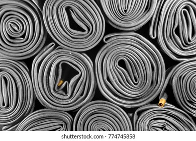 Old bicycle tire tubes
