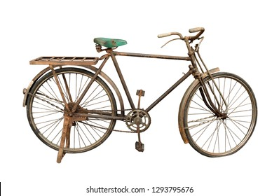 Old bicycle (with clipping path) isolated on white background