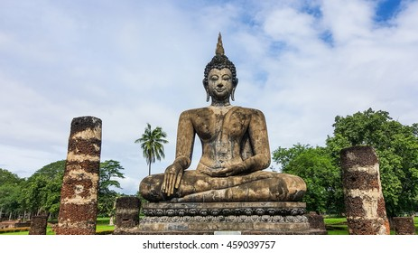 Old Big Buddha statue in the public temple, Thailand