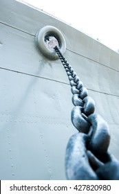 Old big chain for anchor ,vintage ship.
