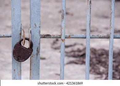 The old big padlock Antique door lock
