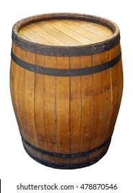 Old big wooden barrel isolated on white. Clipping path included.