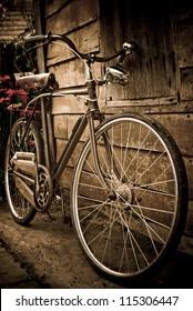 Old bike against