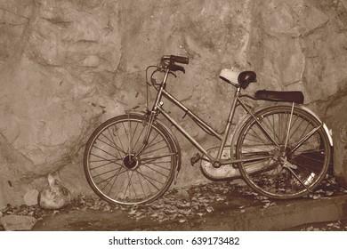 Old bike. Sepia tone