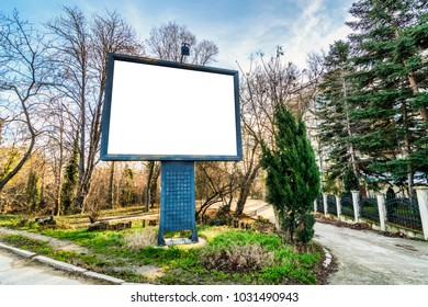 old billboard  in a abandoned touristic place, Billboard in a forest