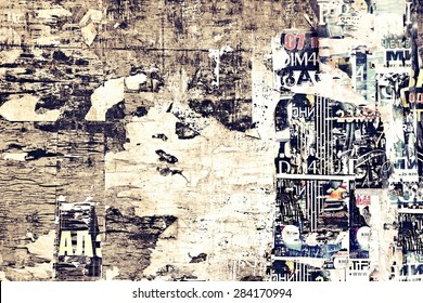 Old Billboard with Torn Posters. Vintage Background and Texture for text or image