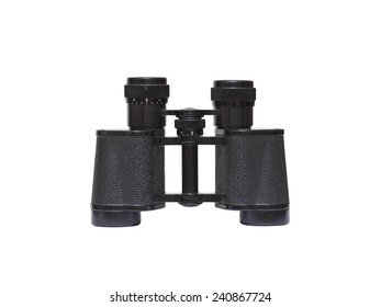 Old binoculars isolated on white