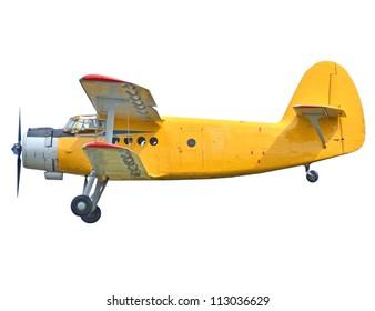 Old biplane isolated on white background