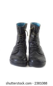 old black army boots on white background.