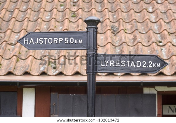Old Black Cast Iron Sign Shows Stock Photo Edit Now 132013472