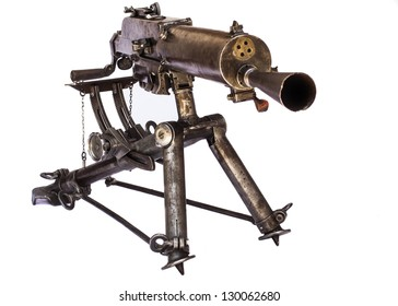 old black color machine gun on a tripod front view isolated on white background