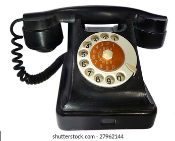 old black cordless phone on the white background