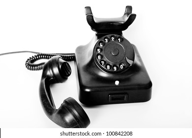 Old black desk phone