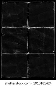 Old Black Empty Ripped Folded Torn Cardboard Paper Poster. Grunge Scratched Old Shabby Surface. Distressed Overlay Texture for Collage.