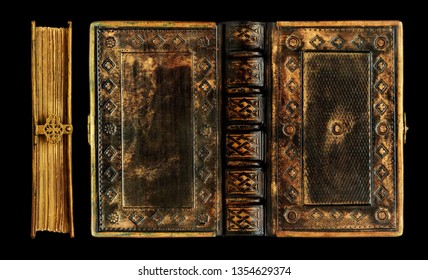 Old black leather book with the brass frame, clasp and gold finish over the leather. Captured over the black background