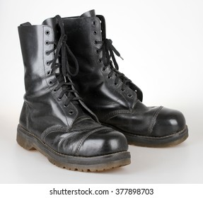 Old black leather boots