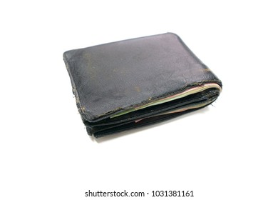 Old Black leather wallet vintage and classic on white background