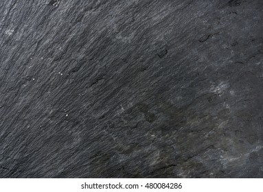 Old black natural slate stone texture, background and wallpaper