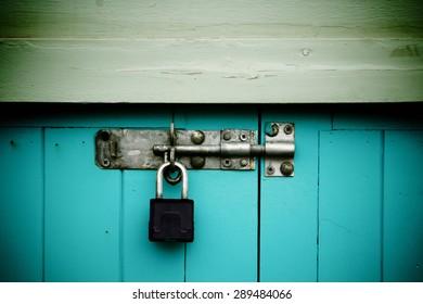 Old black padlock