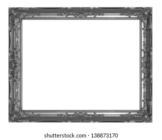 Old black picture frame on white background.