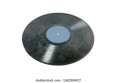 Old black scratched music vinyl record isolated on white background