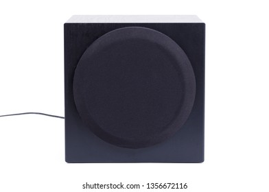 Old black subwoofer, isolated on a white background